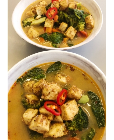 Coconut & Lemon Grass Broth with Crispy Tofu