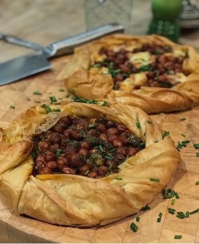 Vegan Smoked Paprika Chickpea & Pesto Galette