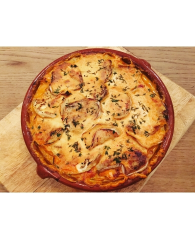 Adzuki Bean Lasagne, layered with White Aubergines and a Coconut & Smoked Paprika Sauce