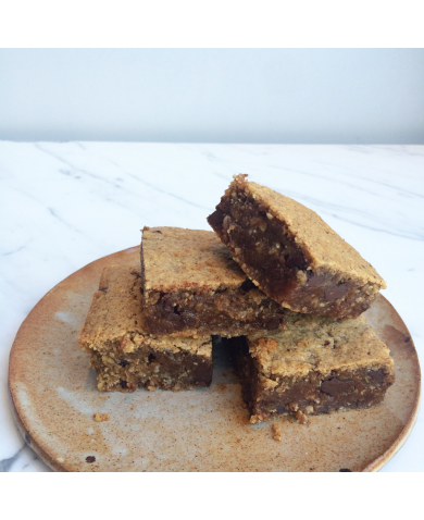 Almond Butter & Oat Blondies with Ginger & Chocolate