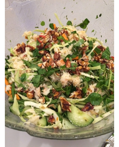 Thai Crab Salad with a Spicy Peanut Brittle