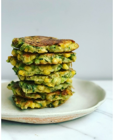 Vegan Sweetcorn, Chive & Courgette Fritters made with Chickpea flour